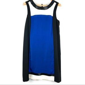 DKNYC Colorblock Shift Dress w/ Leather Trim